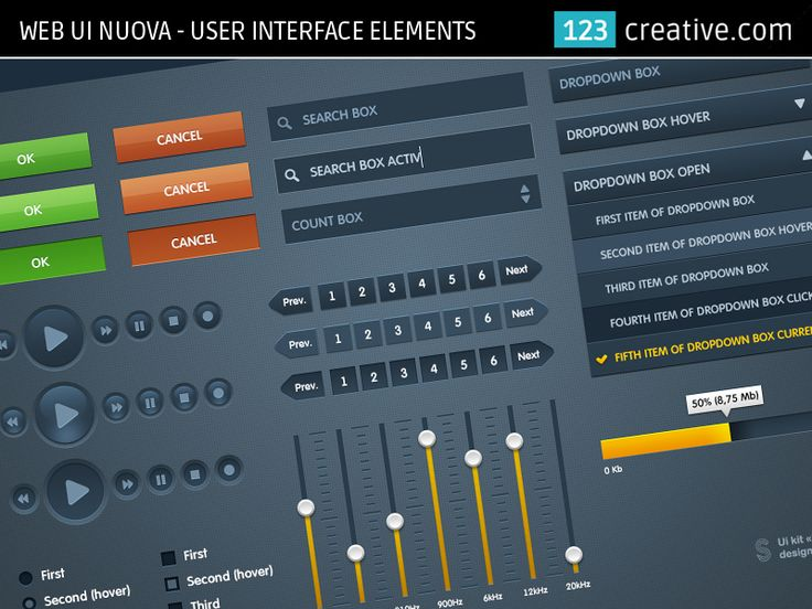 WEB DESIGN USER UNTERFACE ELEMENTS - WEB UI NUOVA for your website (rectangle buttons, page sliders, dropdown menu, faders, radio buttons, play buttons...) - Download here: http://www.123creative.com/web-elements-user-interfaces/693-web-ui-nuova.html (web UI elements, web design, website design)