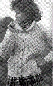 Hmmm.... maybe?  Instead of Uji?  - Women Irish Sweater with pockets = Irish Knits,Aran sweaters,womens fishermens pattern,knitted