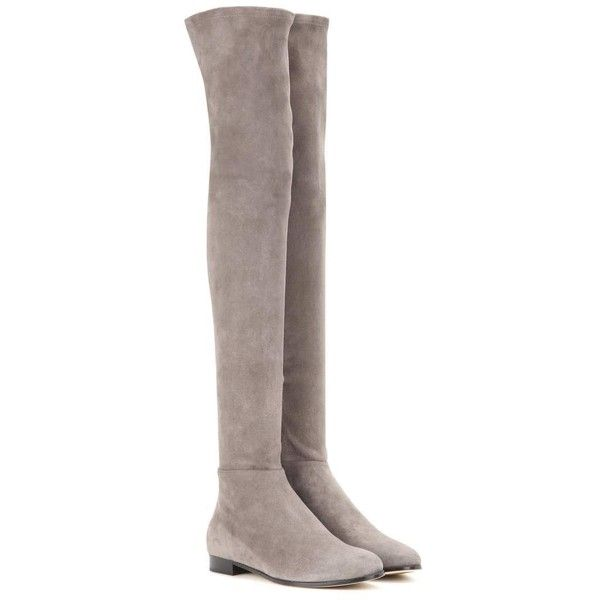 Jimmy Choo Myren Flat Suede Over-the-Knee Boots (£945) ❤ liked on Polyvore featuring shoes, boots, grey, over knee boots, over-the-knee suede boots, gray over the knee boots, over the knee suede flat boots and over-the-knee flat boots
