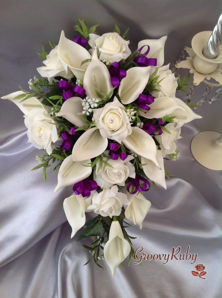 Ivory Rose Large Calla Lily Added Cadbury Purple Ribbon Loops