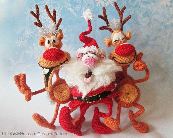 S8 Santa and Reindeers 2 Amigurumi Crochet por LittleOwlsHut