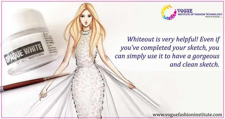 #FashionSketchingTip 3:  Have a whiteout handy; it is very helpful! Even if you've completed your sketch, you can simply use it to have a gorgeous and clean sketch. It doesn't appear on scans and your sketch will look very clean. #VIFT #FashionSketching
