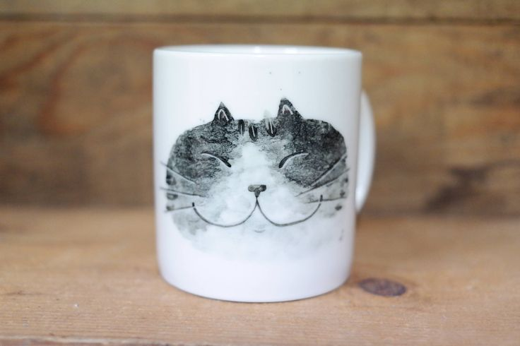 Hand painted animal mug cup - Cute  mug cup -Cat  mug cup- unique mug- Black gradation Cat by CreativeStoneCera on Etsy
