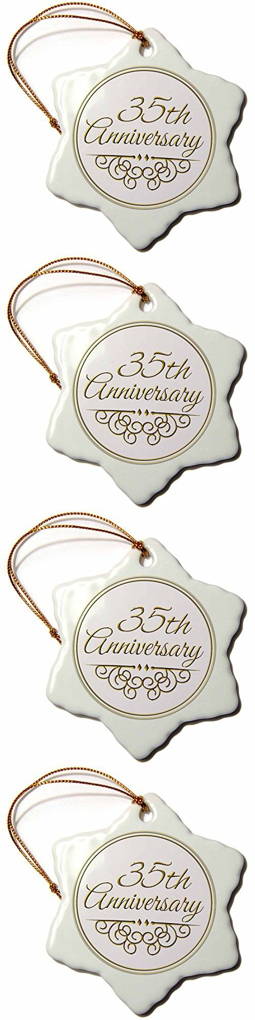 """3dRose LLC orn_154477_1 Porcelain Snowflake Ornament, 3-Inch, """"35Th Anniversary Gift-Gold Text Celebrating Wedding Anniversaries-35 Years Married"""""""