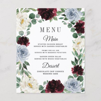 Dusty Blue Burgundy Boho Fall Wedding Menu Cards | Zazzle.com