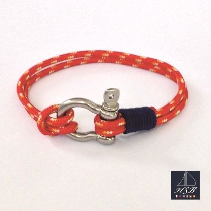 Red paracord bracelet with blue line and stainless steel shackle - 45 RON