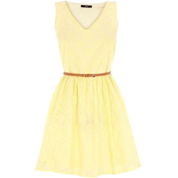 Oasis Lace V-Neck Skater Dress, Yellow: Fashion Products, Pretty Clothing, Style Just Clothing, Lesleyann Rodriguez 0330, Style Minis Dresses, Oasis Lace, Lace In The Neck, Skater Dresses, Jen S Style