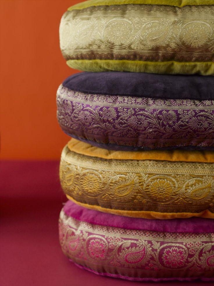 sari-covered sitting cushions (Villa Collection)