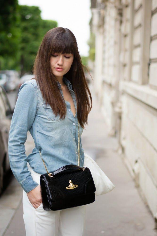 La blogueuse Meet Me In Paree porte notre chemise en denim #chemise #ootd #denim #look #fashionblog