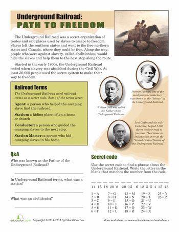 Worksheets: The Underground Railroad