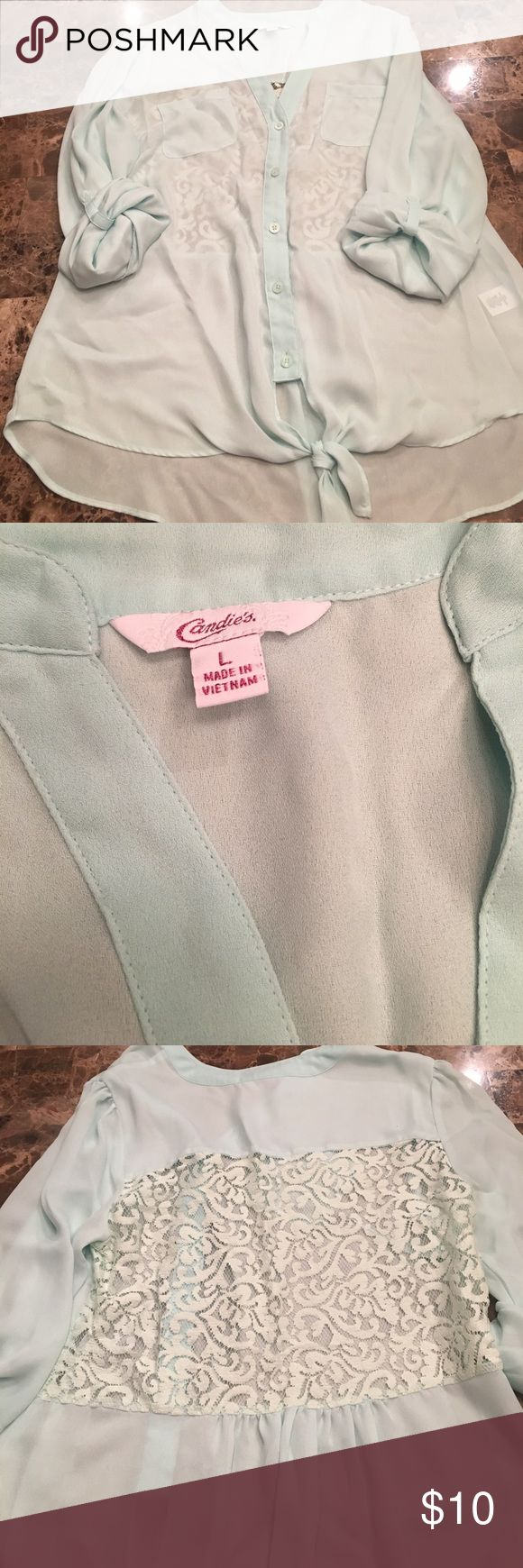 Sheer mint green shirt Excellent condition!!!! Candie's Tops Button Down Shirts