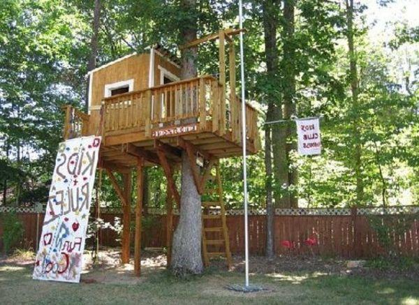 Kreatives Baumhaus Selber Bauen Tafel Mit Aufschiften Baumhaus