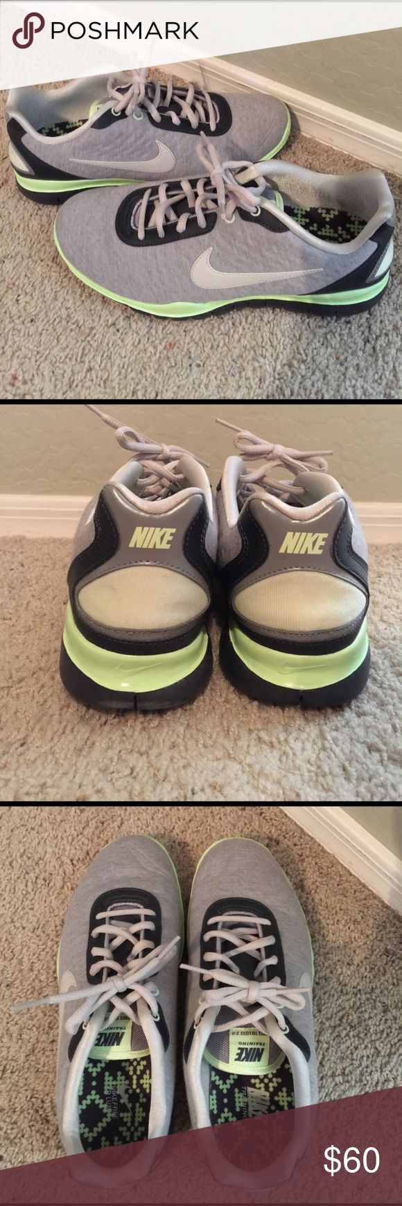 Nike Free Run TR Lux 2.0 Almost like new, Nike Free Runs in a gray/light green color. Only worn 3x, never ran in them. No shoe box. Size 8.5. Nike Shoes Sneakers