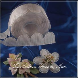 Italian Confetti Flower Coccarde Ribbon BY THE ROLL (52 flowers)
