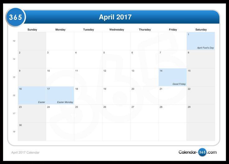 April 2017 Calendar with Holidays