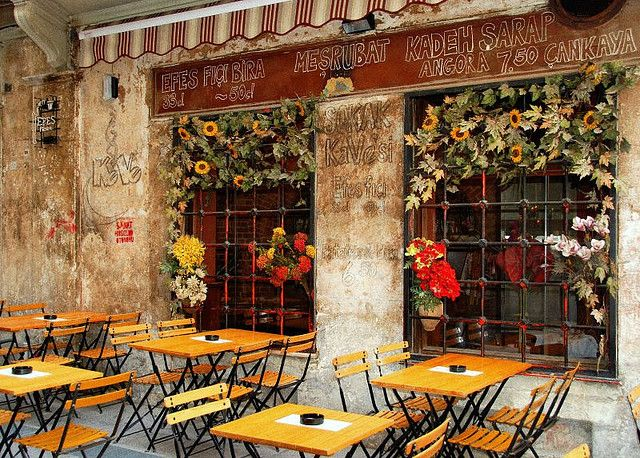outdoor cafe in istanbul, turkey