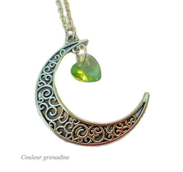 Collier lune et étoiles, coeur de swarovski : Collier par couleur-grenadine33