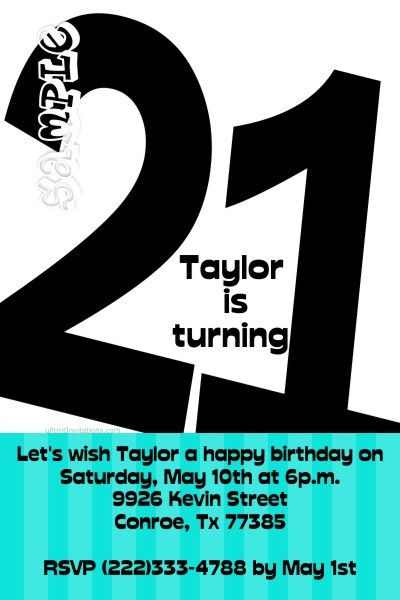 Age 21st Birthday Invitation ANY COLOR SCHEME Get these