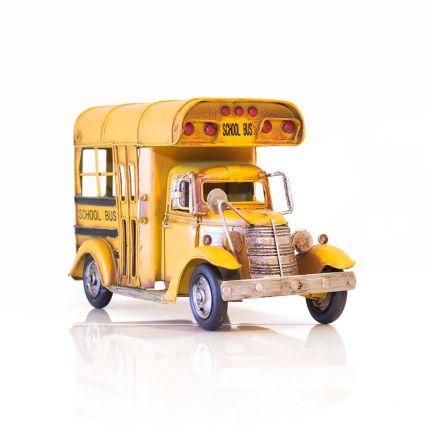 Antika Metal Sarı Renkli School Bus 30x14x18,5 cm