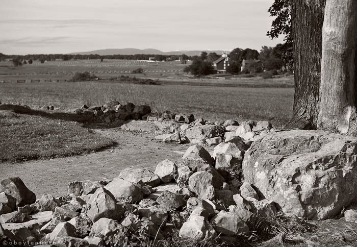 "The Angle, during Pickett's charge, several Confederate soldiers reached the Union line and were able to penetrate it to a point. Those who made it furthest reached a stone wall that made an angle and has become known as the ""High Water Mark of the Confederacy""."