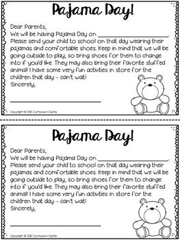 Pajama Day At School Letter To Parents