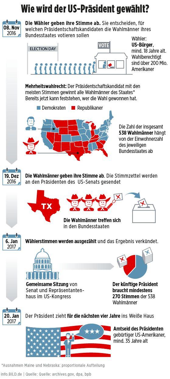 Wahl, USA, Simmenabgabe, Wahlmänner, Kandidaten  präsident, Infografik, Grafik, info.BILD