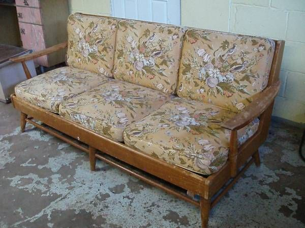 Retro Quot Willett Quot Brand Wooded Framed Couch With Original