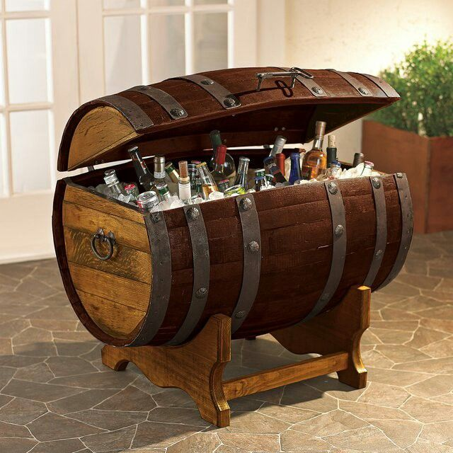 Reclaimed barrel cooler.