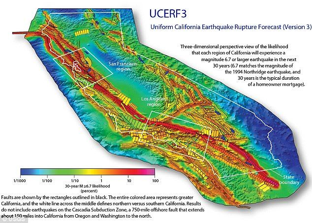 The official USGS forecast for California earthquakes now predicts a 16 percent chance of an M7.5 quake or larger on this section of the fault within the next 30 years. Shown here is the chance of an earthquake across California over the next 30 years