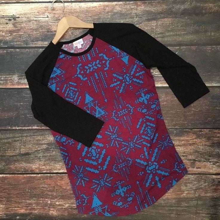 Lularoe Randy Baseball Raglan Sleeve Tee Shirt Top Aztec Arrow Print SZ S Small #LuLaRoe #BaseballTee #Casual