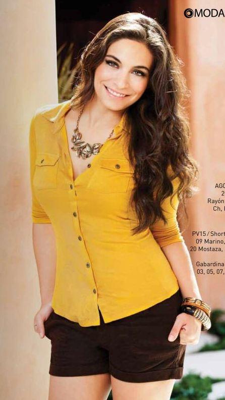 Blusa amarilla, short cafe. moda para mujer, Otoño invierno 2012 ...
