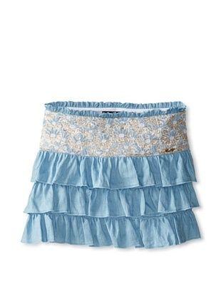 48% OFF Blumarine Girl's Skirt with Flounces (Blue/Gold)
