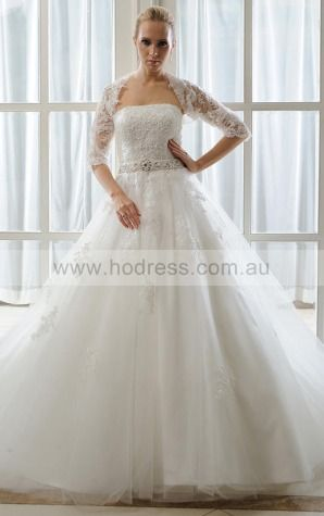 Half-Sleeves Lace-up Tulle Strapless Princess Wedding Dresses ghcf1010--Hodress