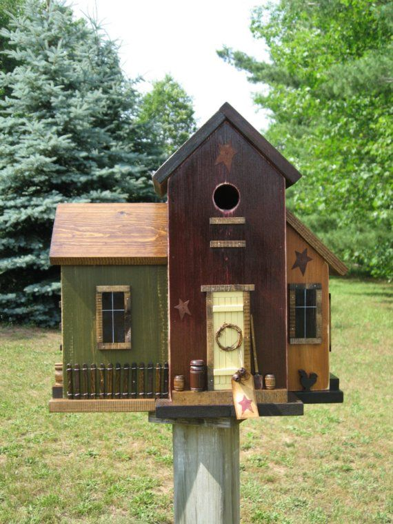 FoLk Art Primitive Saltbox House Birdhouse by HarmonsCountryCrafts
