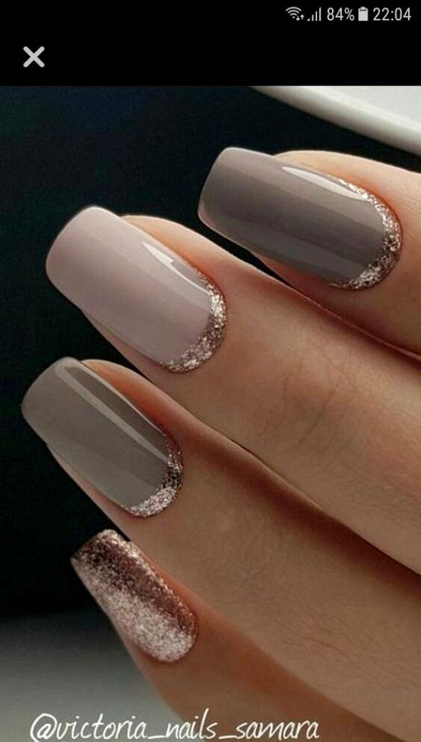 Pink And Taupe And Rose Gold Nails Nailartideas Gold Nails Elegant Nail Designs Gold Manicure