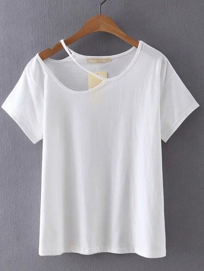 White Cutout Plain T-shirt