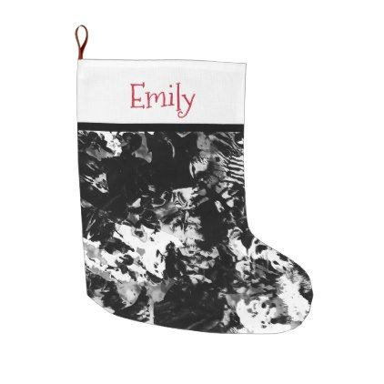 Modern abstract black white acrylic paint marble large christmas stocking - marble gifts style stylish nature unique personalize