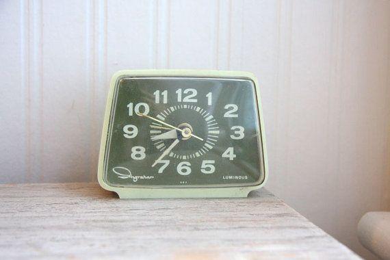 Ingraham Alarm Clock, Ingraham Clock, green clock, celery green, retro clock, Luminous via Etsy