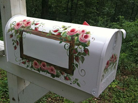 Roses on a Hand Painted Mailbox  FREE by DancingBrushes on Etsy, $99.00