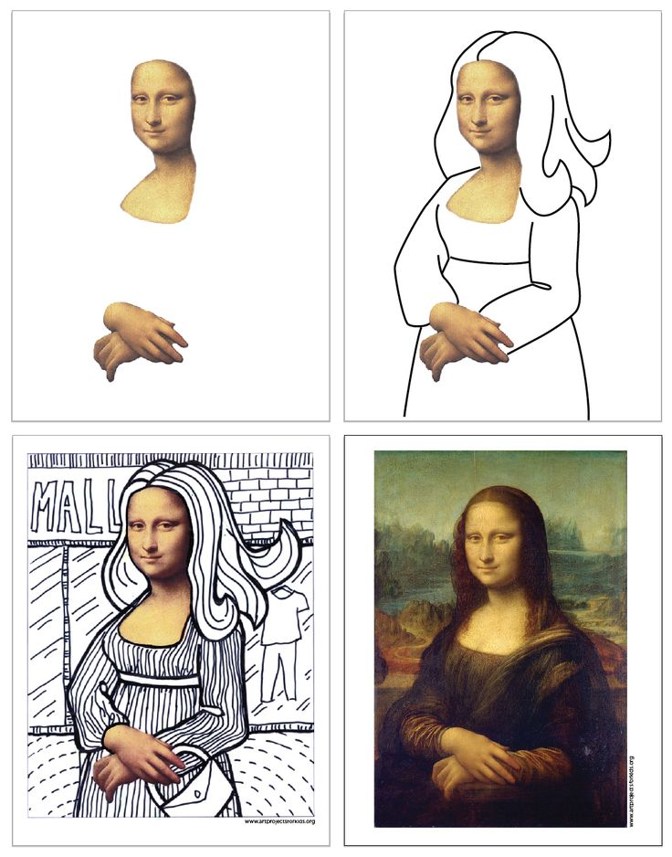Here's another line art project, this time based on the very famous painting of Mona Lisa.