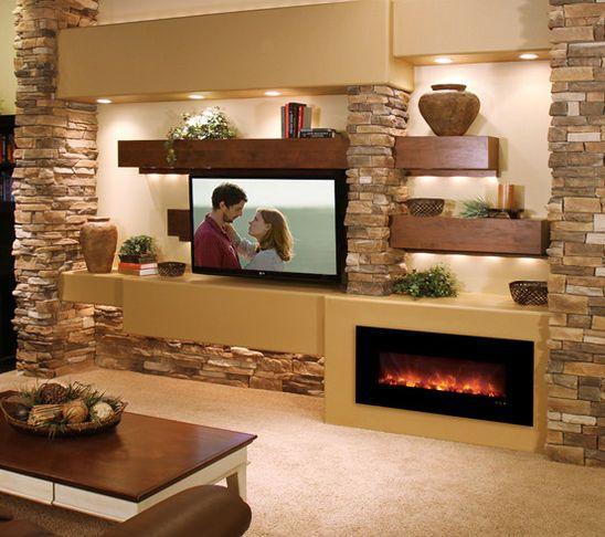 Fireplace and tv happy together on the same wall...a bit too contemporary for me but I like the idea of having them on the same wall but not stacked on top of each other....
