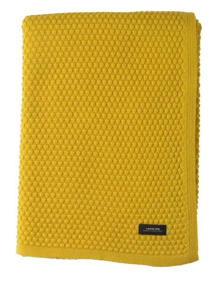 Louise Roe Pledd i sjømannsstrikk 120 x 160 cm - gul
