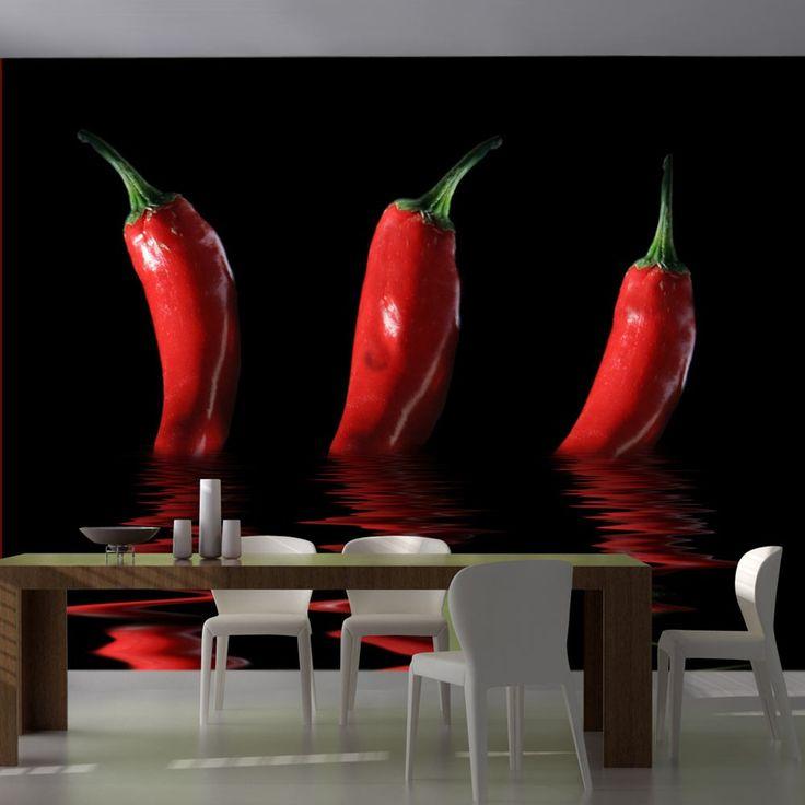 Fototapeta - Papryka chili - pikantny wzór do kuchni lub jadalni