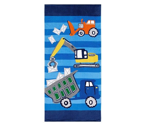 Classic Construction Mini Beach Towel Kids Beach Towels