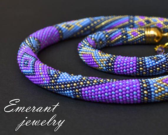 Denim jewelry Purple jewelry Jeans jewelry Crochet jewelry Beaded jewelry Seed bead jewelry Blue jewelry Casual style Birthday Gift For Her