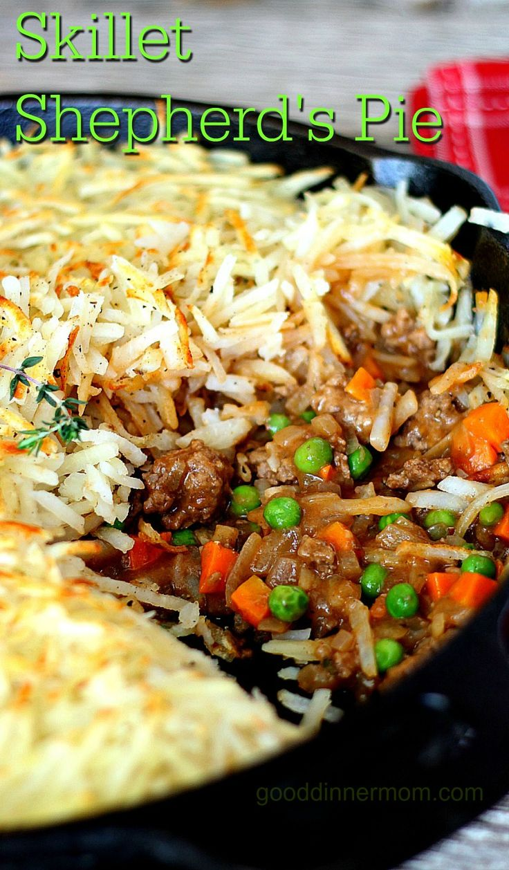 Skillet Shepherd's Pie is a quick and tasty one-dish meal. Ground beef with delicious homemade gravy, frozen vegetables, topped with shredded hash browns.
