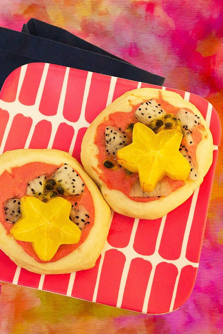 Party-stopper appetizer, an individual pizza topped with red guava, starfruit and dragonfruit. http://www.brookstropicals.com/nutrition/starfruit_66.html