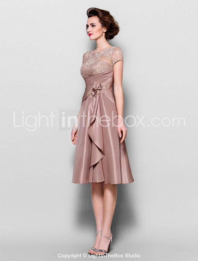 Lanting Bride A-line Plus Size / Petite Mother of the Bride Dress - See Through Knee-length Short Sleeve Lace / Taffeta withBeading / 2016 - $109.99