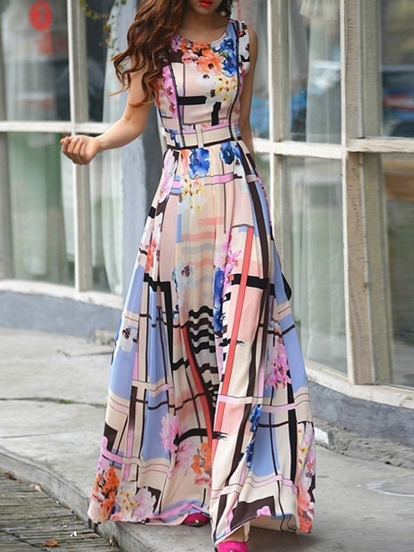 Plaid Floral Print Sleeveless Expansion Maxi Dress
