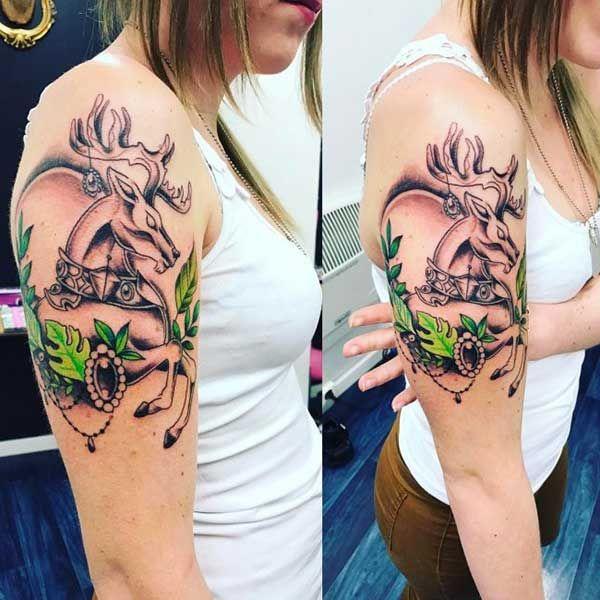 asil geyik kol dövmesi kadın